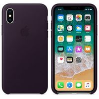 huge selection of 9a03e 0111b APPLE iPhone X Leather Case, Dark Aubergine (MQTG2ZM/A)